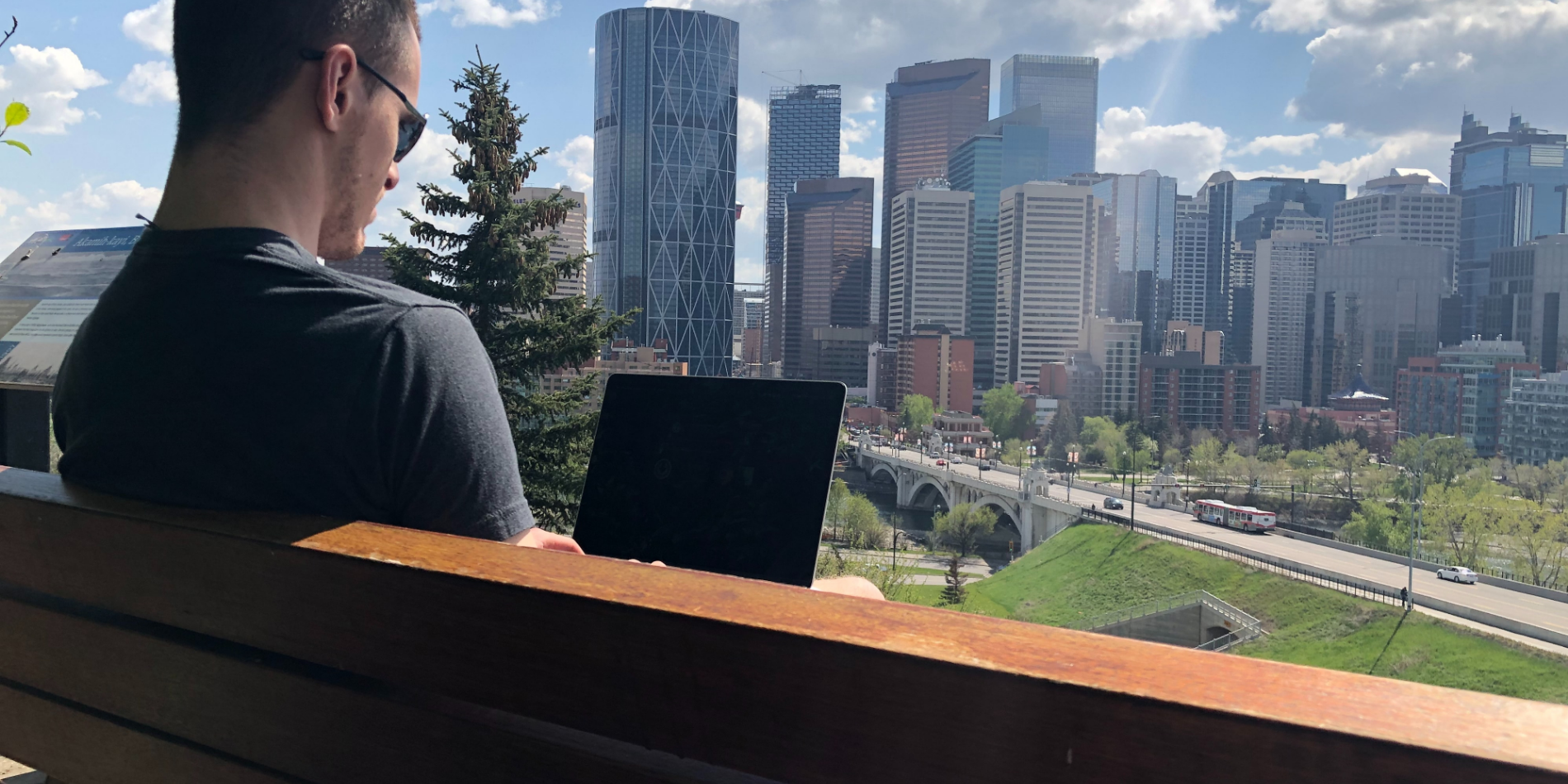 Working at computer outside