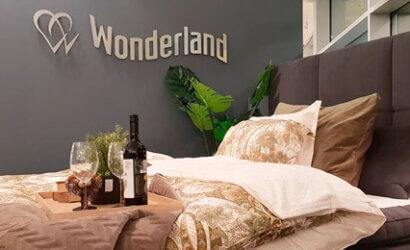 Wonderland bed with logo