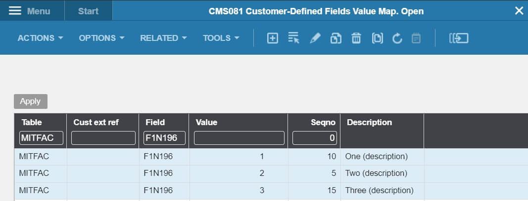 Custom fields M3