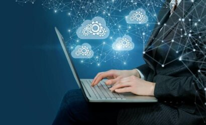Man on computer cloud